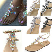 Women Sandals Summer Bling Rhinestone Ankle Strap Peep Toe Sandal Flat Shoes