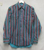 S3197 Wrangler 15.5x34 Preshrunk X-Long Tails Black Striped Pearlsnap Shirt
