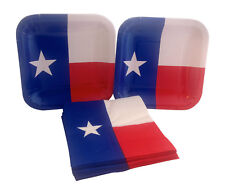 Texas State Flag Party Dessert Paper Plates Napkins for 16 Red White Blue Star