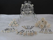 Ivory wedding hair roses flowers grips or pins bridal tiara accessories