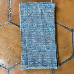 "Gap Men's Merino Wool Tan Grey Striped Scarf 9"" X 70"" Warm Soft"