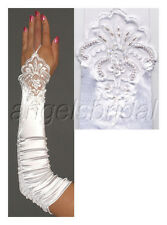 "17"" WHITE FINGERLESS LACE STRETCH SATIN BRIDAL WEDDING GOWN DRESS FORMAL GLOVES"