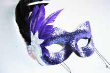 MASQUERADE BURLESQUE PURPLE FEATHER COLORED EYE MASK WITH PEARL BEADED FLOWER