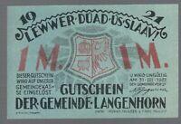 Notgeld -  Langenhorn - Gemeinde Langenhorn - 1 Mark - 1921
