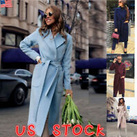 Women Italian Long Duster Jacket Ladies French Belted Trench Waterfall Coat 6-10