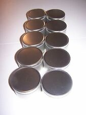 CANDLE TINS 8 OZ. 1DZ ( 12 ) SOLID LIDS PRE-WICKED FOR SOY WAX & CAUTION LABEL
