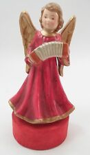 1950s Japan Revolving Red & Gold Gloria Angel w/ Accordian Squeezebox Music Box