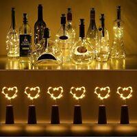 6x 20 LED Weinflasche Kork String Light Nacht Lichterkette Party Flaschenlicht