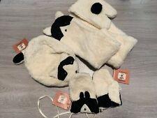 RRP £79 * CATIMINI Girls Designer Hat, Scarf  & Mittens Set* Age 5-6, 53cm Cream