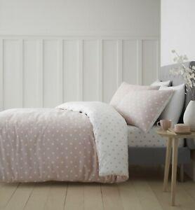 Catherine Lansfield Dotty Brushed Cotton Blush - Duvet Bedding Set