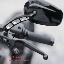 US Motorcycle Rear View Mirrors Edge Cut Black For Harley-Davidson Super Glide