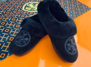 Tory Burch NIB Coley 2 Embroidered Shearling Suede Black Slippers Mules