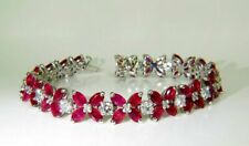 3 Ct Marquise Cut Pink Ruby Womens Tennis Bracelets 14K White Gold Plated Silver