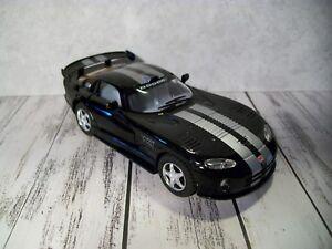 "F2  Kinsmart Dodge Viper, Black w/Silver Racing Stripes, 1:36 or 5""L, Pull-Back"