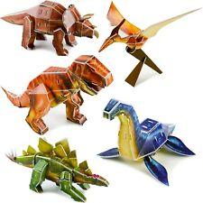 "Dinosaur Figures Set Assorted 5-Pack 10"" 3D Puzzle easy assembly no glue 94pcs"