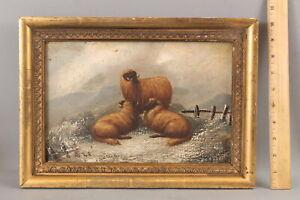 Small 19thC Antique Oil Painting, Scottish Blackface Sheep Ram Winter Landscape