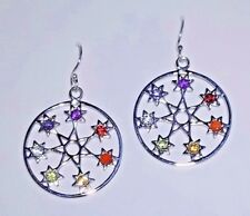 FAIRY STAR, SEPTAGRAM CHAKRA GEMSTONE STERLING SILVER DROP DANGLE EARRINGS