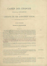 CAHIER DES CHARGES pour la concession des CHEMINS DE FER D'INTERET LOCAL