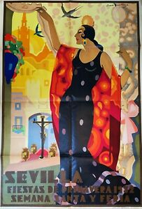RARE  HUGE  Art Deco Original Poster - 1932 Sevilla Festival Primavera - Balcera