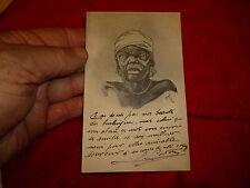 Carte postale :Gravure Type Africain Vielle Femme : Illustrateur Nab ou Mab ??