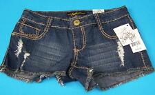 Southpole Juniors Size 1 Denim Blue Wash Frayed Mini Shorts Dark Baize NWT *Cute