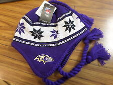 NFL Team Apparel Baltimore Ravens Tassel Winter Hat New With Tags!