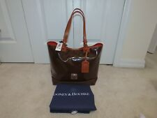 DOONEY & BOURKE VENUS LEE TOTE BAG PURSE BROWN PATENT LEATHER SUEDE NEW NWT