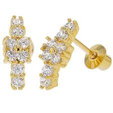 18k Gold Plated Flower Branch Clear CZ Screw Back Girls Earrings