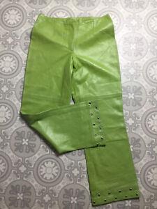 VTG Apple Green Butter Soft Leather Straight Leg Crop Trousers UK 8 10 Studded