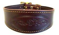 "TRADITIONAL LEATHER EMBOSSED WHIPPET DOG COLLAR BRASS BUCKLE ADJUST 12""-13.5""]]"