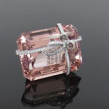 Estate Tiffany & Co France 97.27ct Morganite & 2.50ct Diamond Platinum Brooch