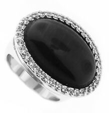 Ladies Dark Cat Eye Stones Silver Rhodium Plated Ring Size 9