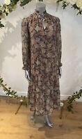 Influence Maxi Dress Size UK 8 & 12 Floral Long Sleeve Dusky Pink Tie Neck GE85