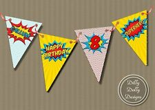 Birthday, Child Comic Book Heroes 1-5 m Party Buntings