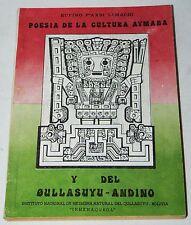 Poesia de la Cultura Aymara y del Oullasuyu-Andino 1985 pb Andes poetry Bolivia
