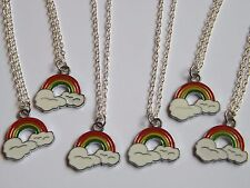 Set of 6 Rainbow charm necklaces, girls birthday party bag filler