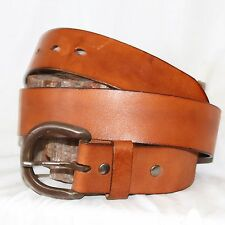 "Vintage Leather Island brown leather Belt  sz 36 1½""w brass buckle"