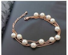 18K Rose Gold Plated Bracelet Crystals from Swarovski White Pearls Bangle