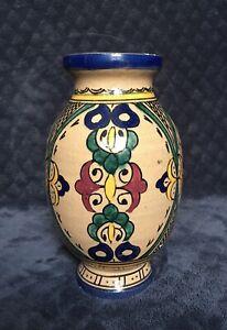 Antique Vintage Moroccan Fes Polychrome Pottery Vase