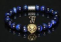 Tigerauge blau - goldfarbener Löwenkopf - Armband Bracelet Perlenarmband 8mm