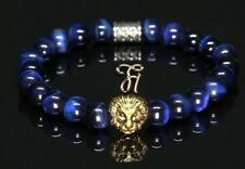oeil de tigre bleu - DORÉE TÊTE DE LION - Bracelet Bracelet Bracelet de perles