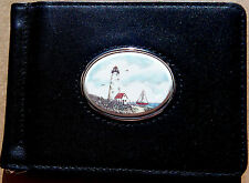 Wallet ID Leather Barlow Scrimshaw Carved Painted Art Lighthouse 240226c NEW