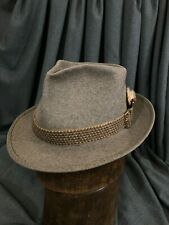 Borsalino Gray Size 7 1/8 Heathered Fur Felt Classic Hat with Great Ribbon
