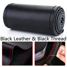 Universal DIY Black Genuine Leather Car Steering Wheel Cover Case Needles&Thread