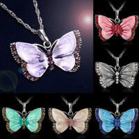 Women Fashion Enamel Crystal Butterfly Necklace Pendant Chain Charm Jewelry Gift