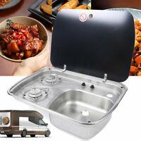 Boat Caravan Camper 2 Burner Gas Stove Hob Cooktop Sink Combo With Glass Lid US