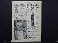 Illustrated London News Ads ONE Double-Sided Page c1888 S2#04 Brooke's Soap