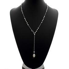 "Collar De Perlas Lariat 9mm perlas de agua dulce gota Plata Esterlina 24"" Cadena"