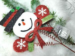 GLITTER CHRISTMAS SNOWMAN DECORATION  PICK   CUTE WOBBLY WAVING  ON STEM 38cm