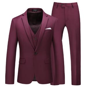 Mens Wedding Suit 3PCS Slim Fit Business Size Plus Soild Color One Button Blazer